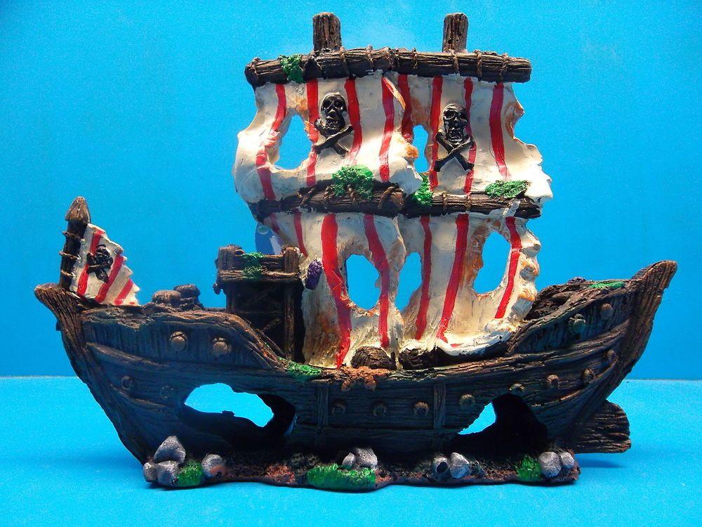 Details About Ym832s Sailing Pirate Ship Wreck Heavy Aquarium