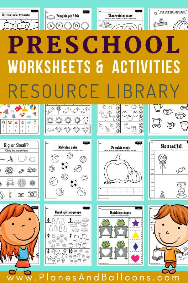 400+ Free preschool worksheets in PDF format to print - Planes & Balloons