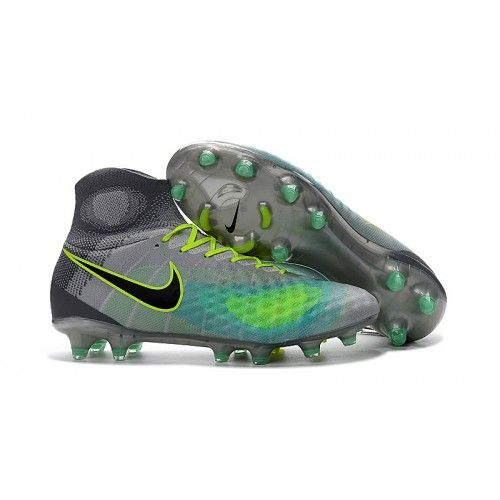 Nike Magista obra II FG Gray Blue Yellow Soccer Cleats