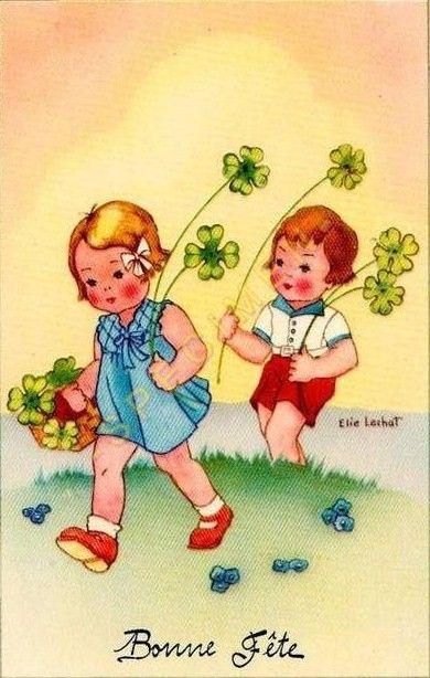 Oude Kaart Gelukkige Verjaardag Vintage Kinderkaarten Pinterest