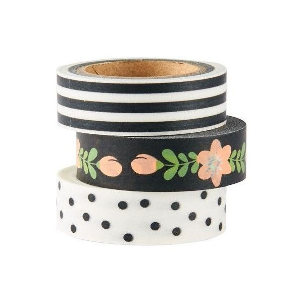 Black and White Washi Tapes (€9,14) ❤ liked on Polyvore featuring home, home decor, office accessories, polka dot washi tape and black and white washi tape