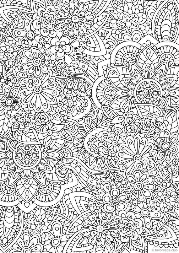 Flower Doodle - Printable Adult Coloring Page from Favoreads (Coloring book pages for adults and kids, Coloring sheets, Coloring designs)