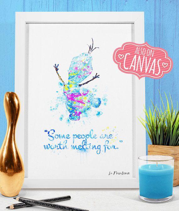 Olaf Frozen Disney Quotes, Winter Wonderland Decor, Frozen Nursery Art,  Frozen Wall Print