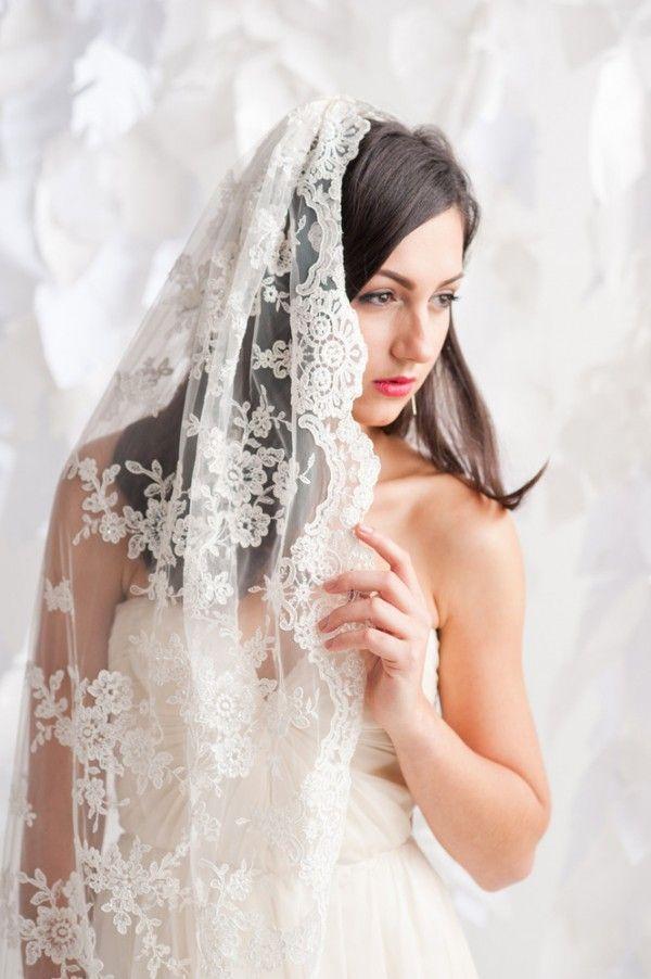 Chapel length lace veil - long lace wedding veil