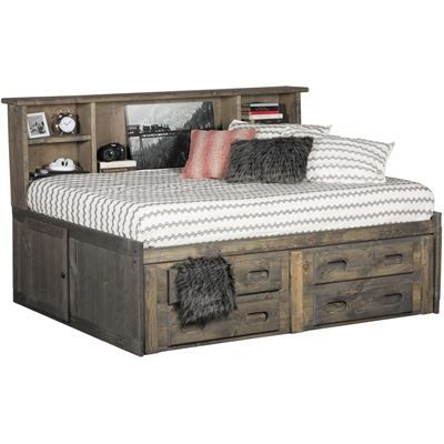 Show Details For Cheyenne Driftwood Full Roomsaver Capitain S Bed In 2020 Captains Bed Bed Frame Design Twin Captains Bed