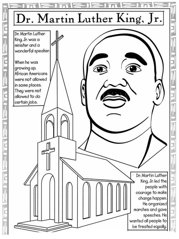 Free Martin Luther King Day coloring pages, MLK lesson