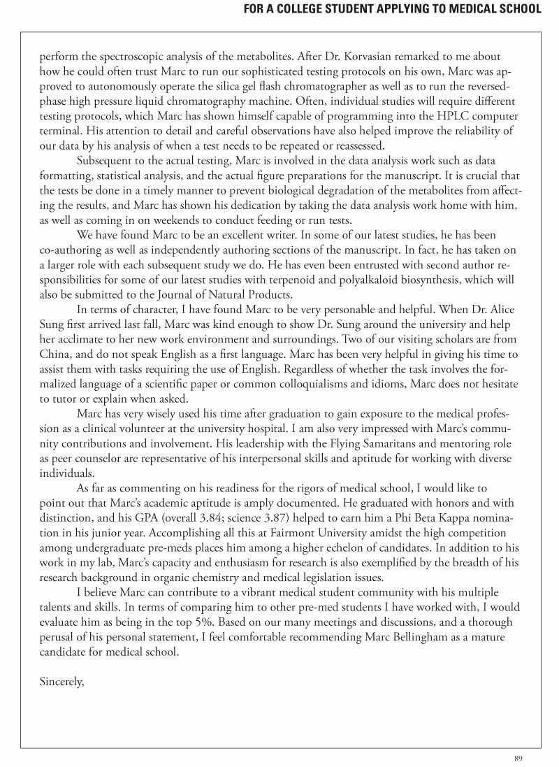 Cover Letter for Medical School Fresh for Current