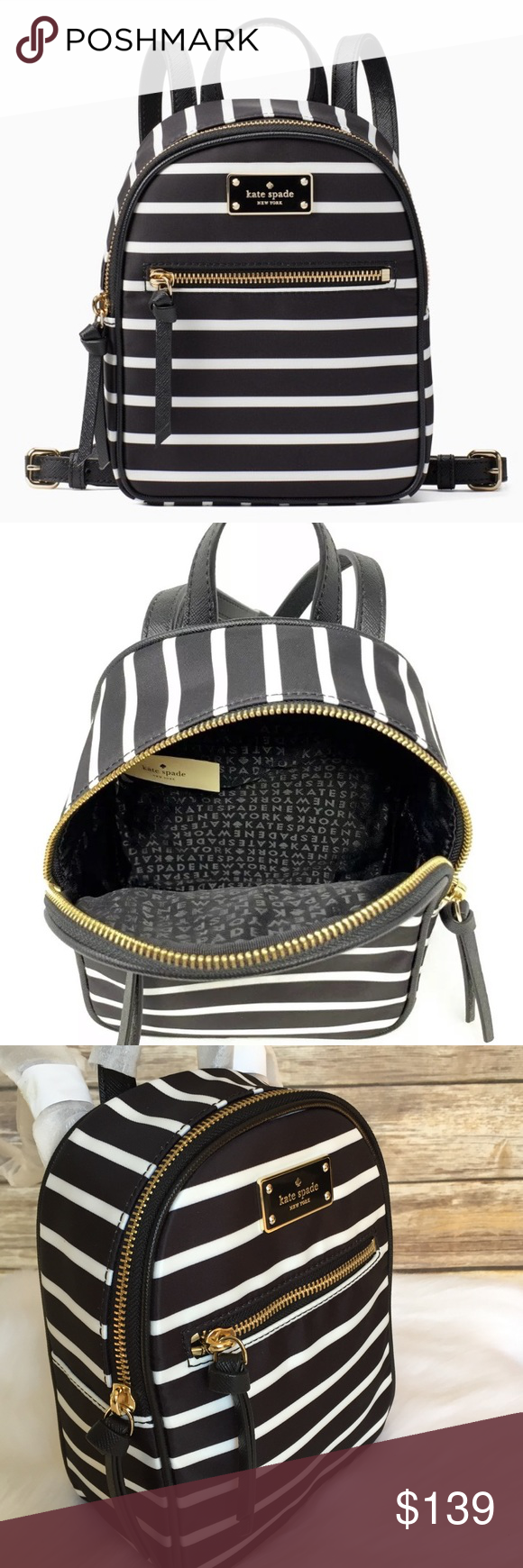 a296699286a8 Kate spade mini Bradley Wilson stripe backpack bag New with tag  amp   authentic guaranteed!