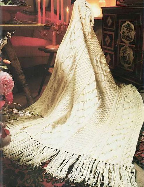 What Crazy Good Ravelry Fisherman Knit Afghan