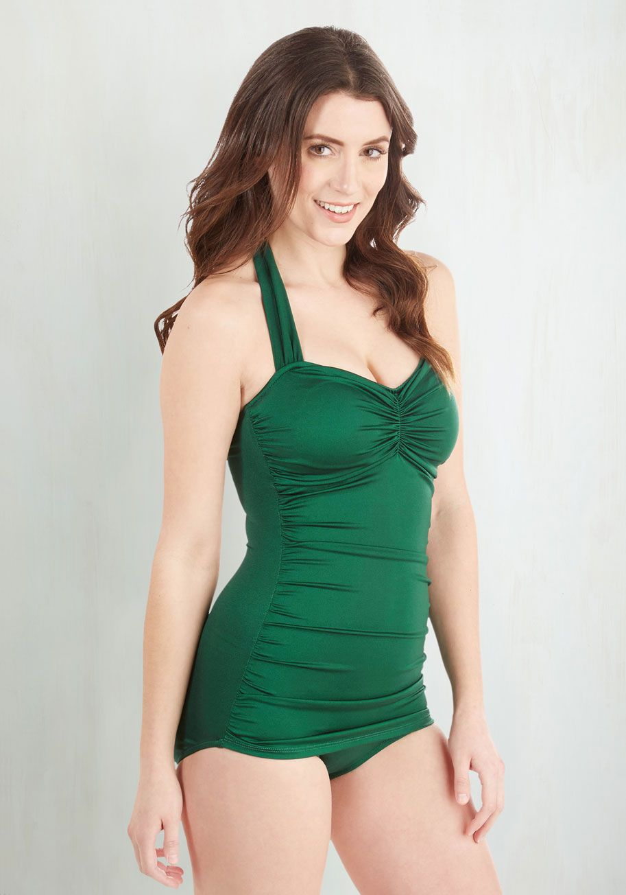 9d43fbb26c0a9 Bathing Beauty One-Piece Swimsuit in Emerald. It s ModCloth s ultimate  swimsuit - now in a rich emerald hue!  green  modcloth