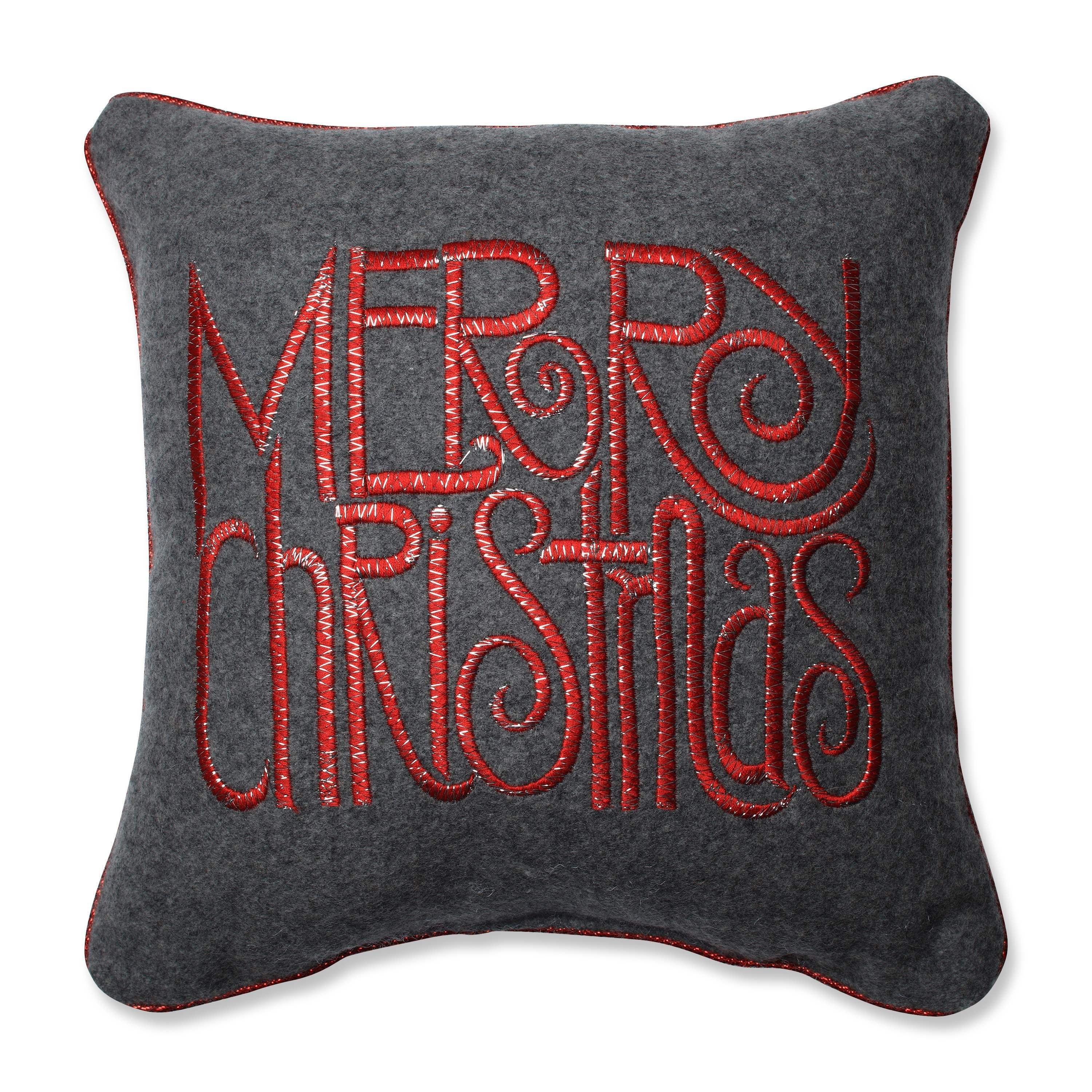 Pillow Perfect Merry Christmas Words Grey-Red 18.18-inch Throw ...