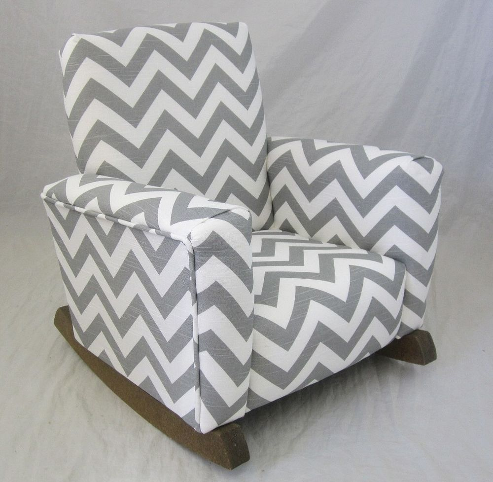 db0760fced0400 New Childrens Upholstered Rocking Chair Zig Zag Chevron Gray Toddle Rock  for Kid