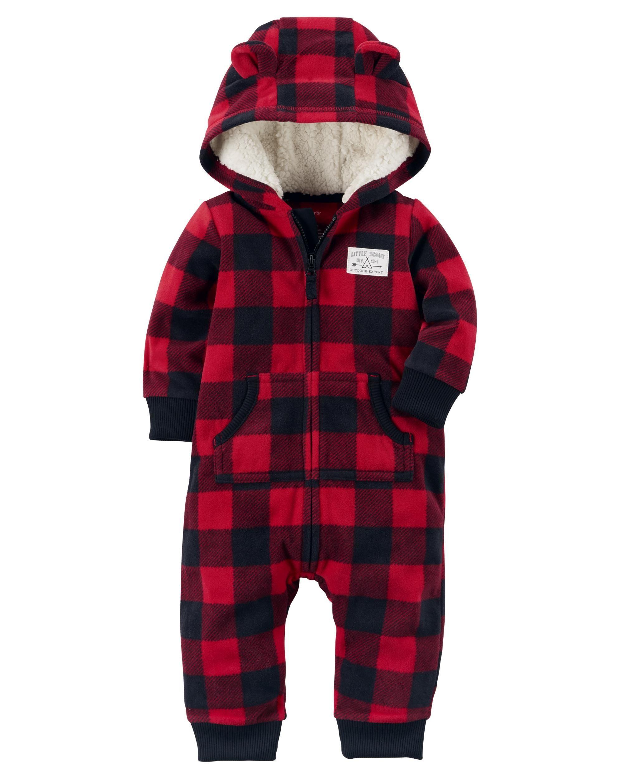 Baby Boy Buffalo Check Fleece Jumpsuit 3f89a0dc5