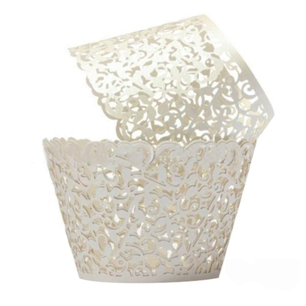 HG-X ® 50 PCS Flower Vine Filigree Cutout Lace Cupcake Wrapper Wraps Liner Wedding Party Cake Decoration (White) > Huge discounts available at : baking essentials