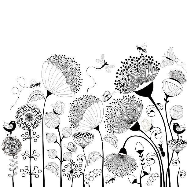 Noir Et Blanc De Fleurs Illustration Vectorielle Art