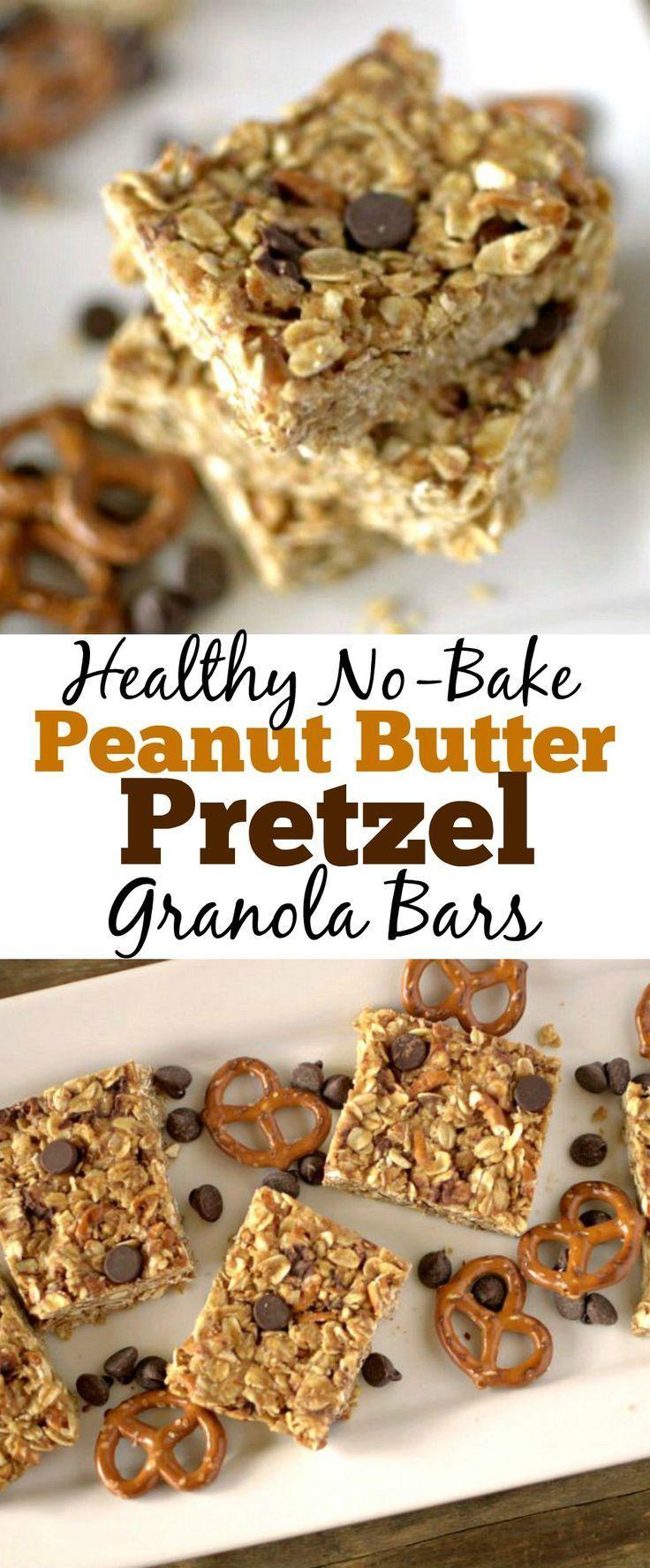 Gesunde No Bake Erdnussbutter Brezel Müsliriegel mit nur 5 Zutaten. GF DF und Vegan Friendly!