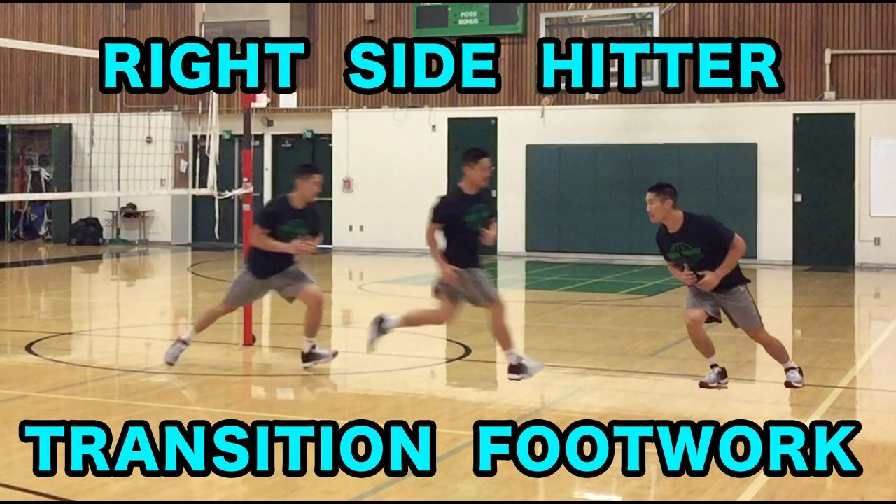 Right Side Hitter Transition Footwork Volleyball Tutorial Volleyball Workouts Volleyball Drills Volleyball Training