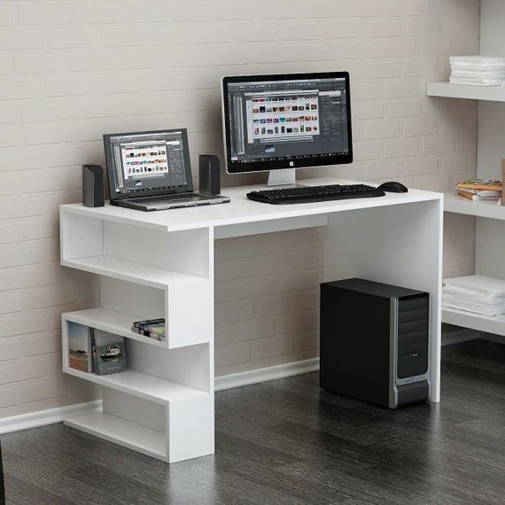 Computer Desk With 4 Tier Storage Shelves 41 7 Student Study Table With Bookshelf Modern Wood Desk In 2020 Modern Wood Desk Study Table Computer Desk With Shelves
