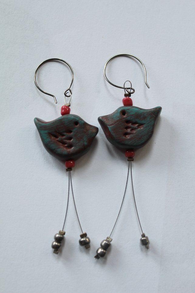 Polymer clay and wire bird earrings £10.00 | Earrings | Pinterest ...