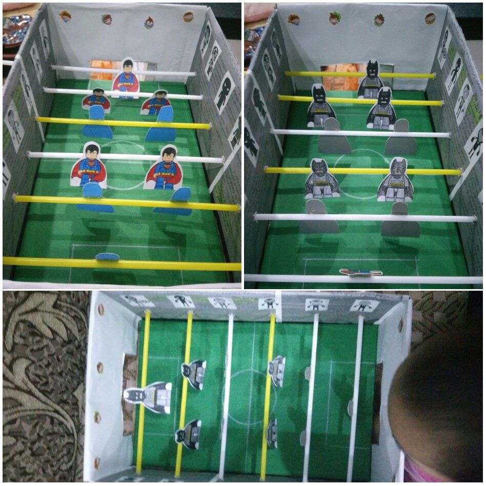 Reuse Redo Recycle Toy For My Boy Craft Soccer Box Superman Vs Batman Diy Kids Toys Recycled Toys Recycled Projects