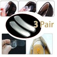 Wish | 3Pairs Silicone High Dance Shoes Grip Back Heel Liner Gel Cushion Pads Insole JP