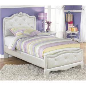 Zarollina Twin Upholstered Bed In Silver Peal Faux Gator Finish By  Signature Design By Ashley At Turk Furniture