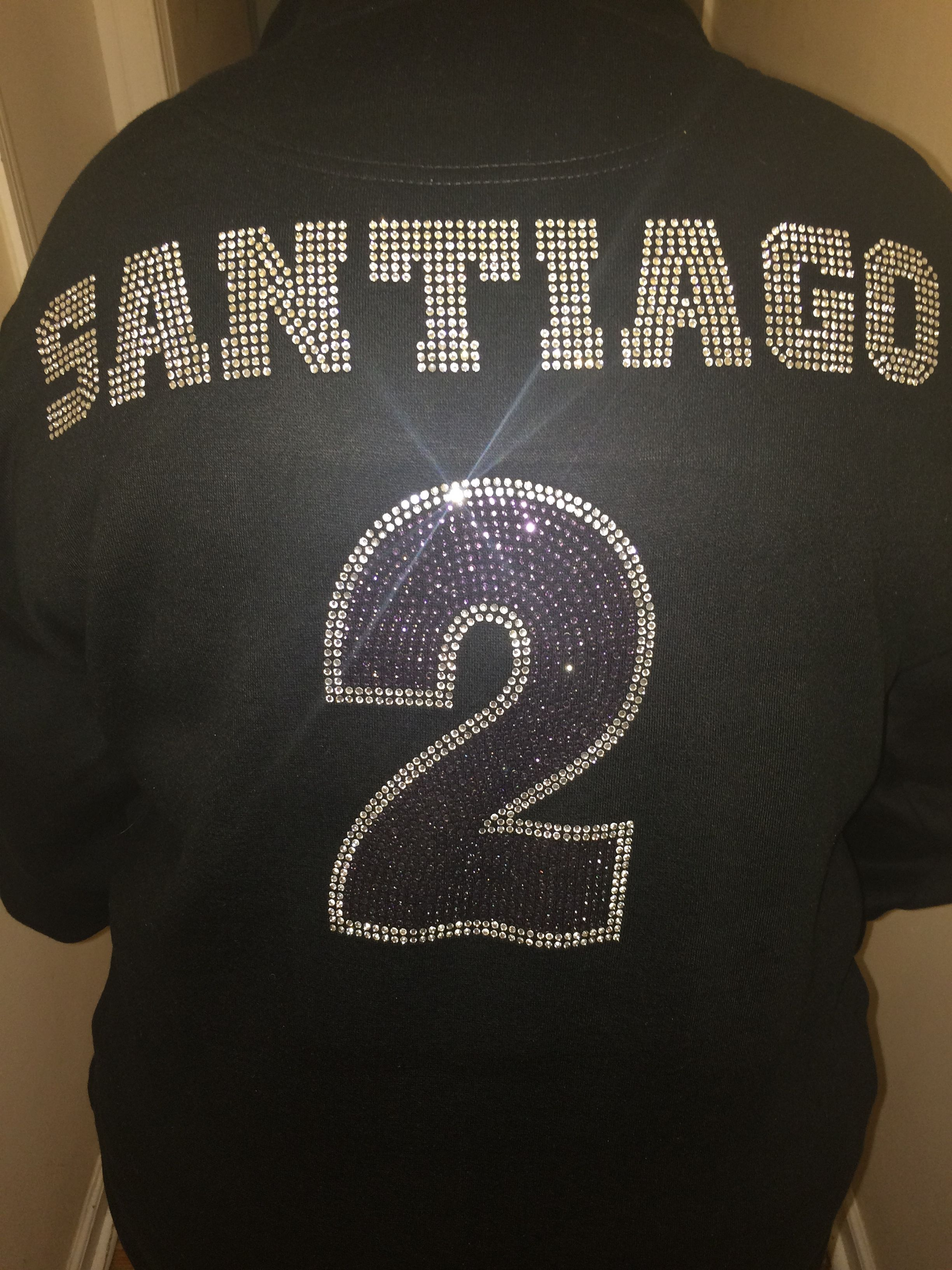 a75c342e1 Custom Sweaters with personalized name and number this is the Back view.  Front  (I (HEART shape) football senior) is also pined.