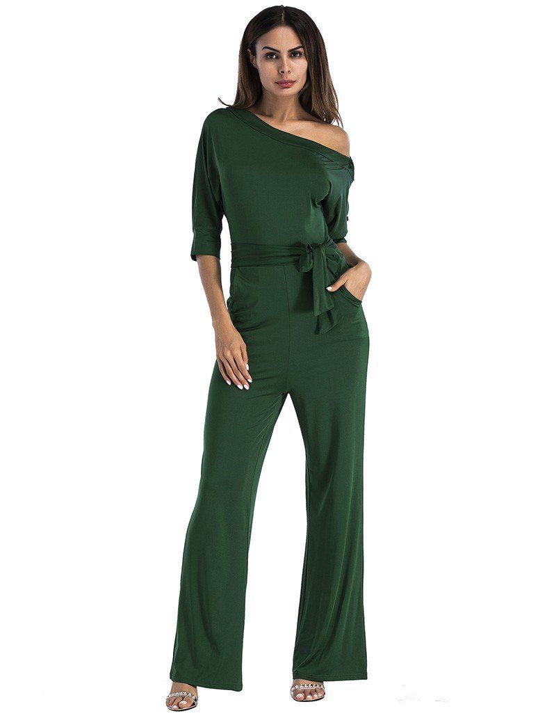 d7d675be6d41 Plain Green Surplice Buttoned Neck Jersey Jumpsuit With Self Belt – FADCOVER