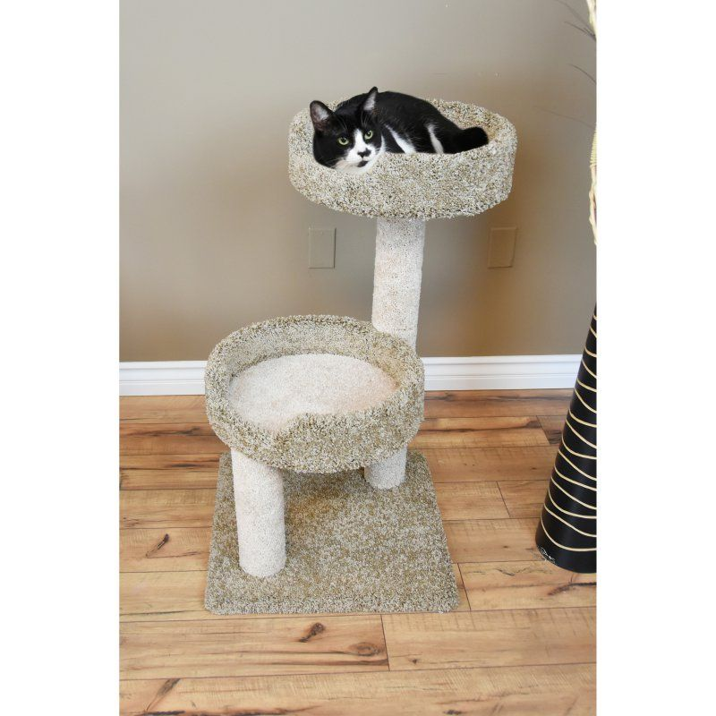 Carpeted Two Story Cat Condo
