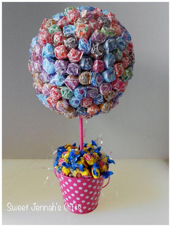Dum Dum Lollipop Centerpiece In Cute Pink Polka Dot Tin