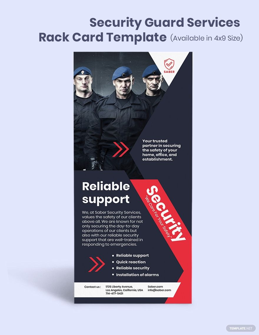 Security Guard Services Rack Card Template Word Psd Indesign Apple Mac Pages Publisher Illustrator In 2020 Security Guard Services Rack Card Rack Card Templates