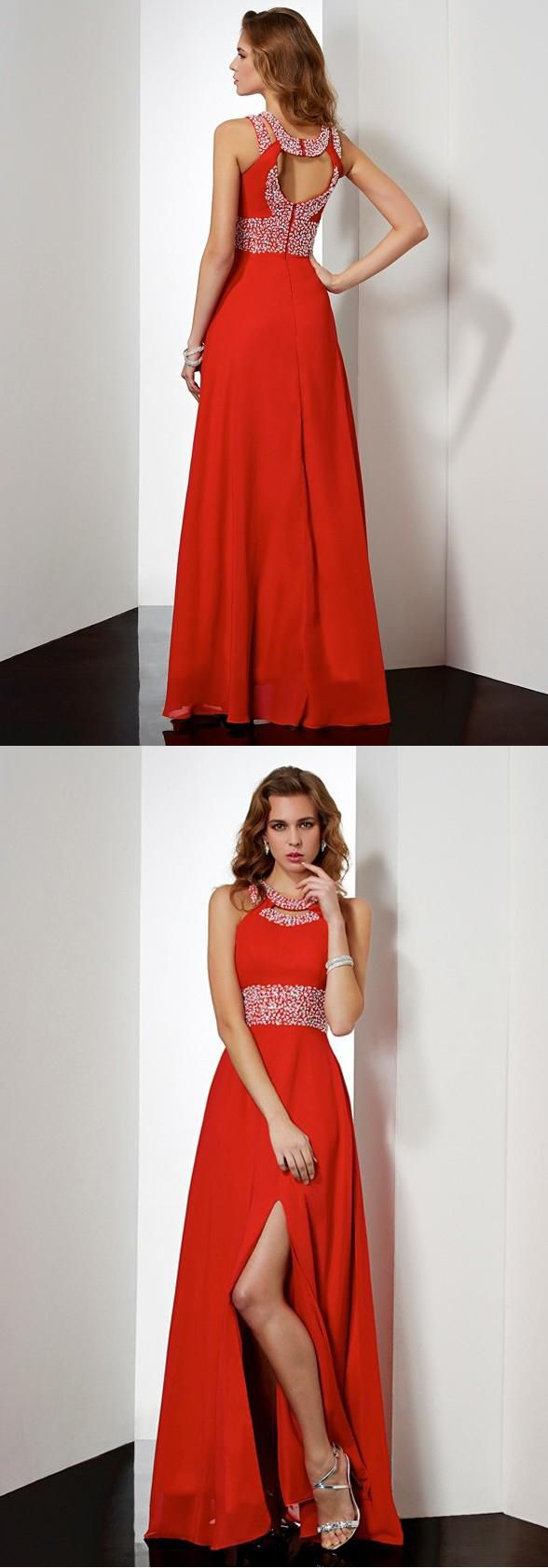 High neck open back split red chiffon beaded long prom dress evening