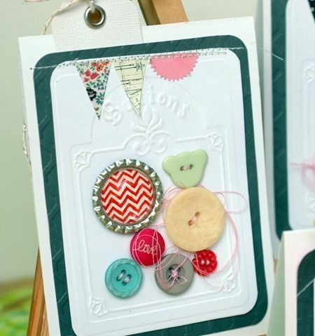 Embossing, buttons, and stitching