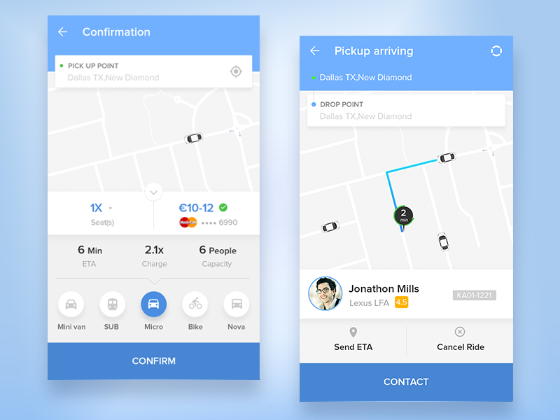 Ridemate Car Sharing App Mobile Ui Examples Taxi App App Ui