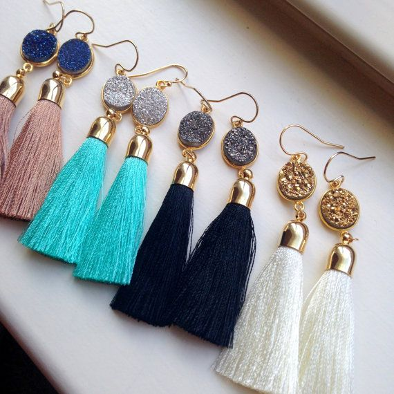 Jewelry Gift Gold Tassel Earrings Druzy Jewelry Gold
