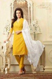 6a7ba4a2b4 Plain Yellow Color Salwar Suit With White Dupatta | Ethnic <3 ...