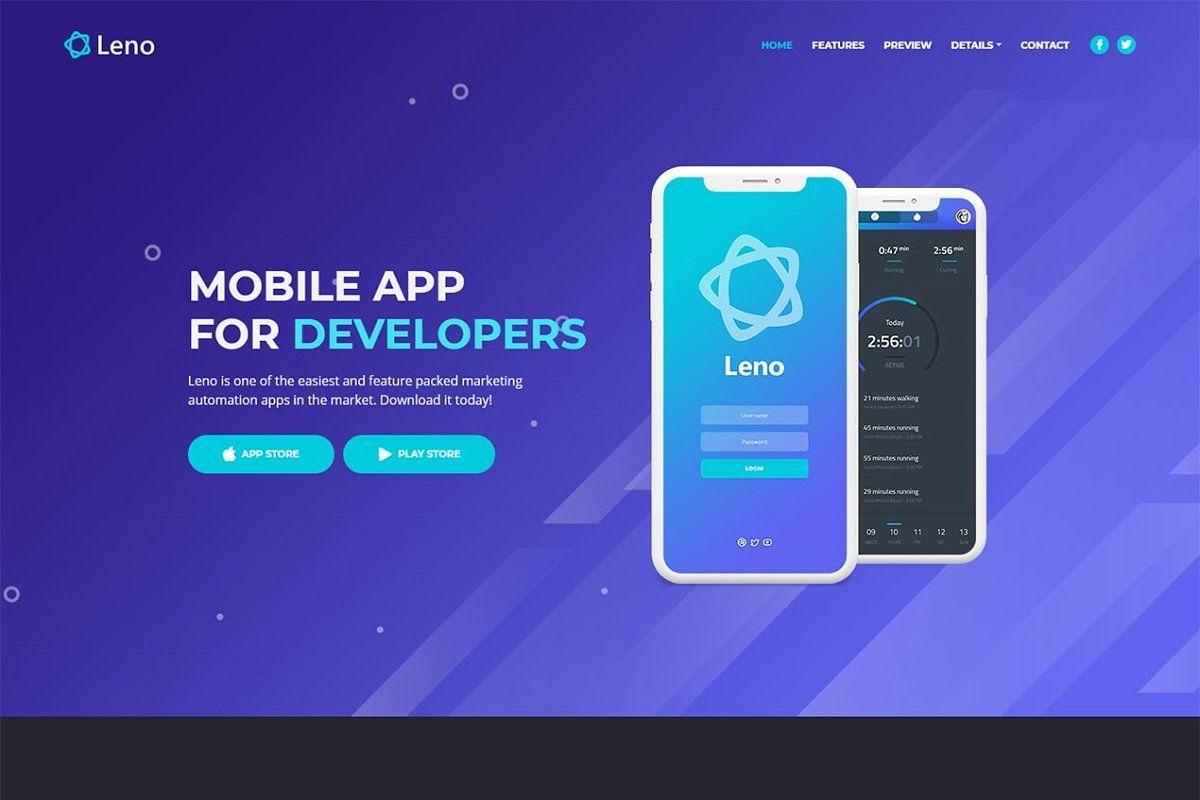Leno Mobile App Landing Page Templ App Landing Page Landing Page Mobile App