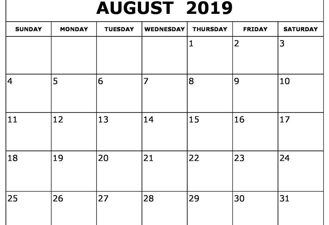 Free Printable August Calendar 2019 August Calendar