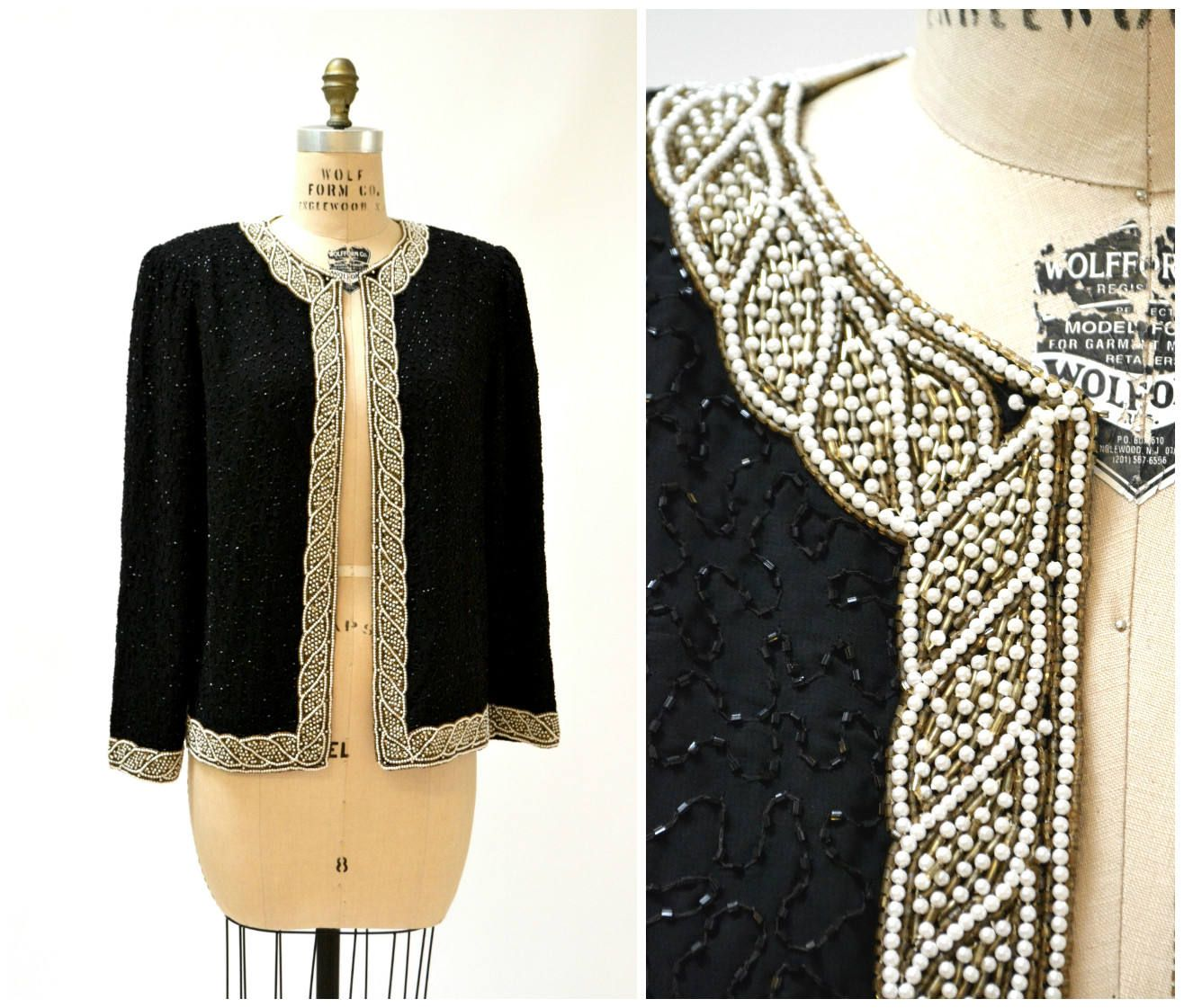 Vintage 80/'s Black Sequined Formal Classic Fitted Romantic Shiny Vest