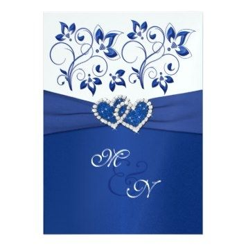Royal Blue Wedding Invitations And White Joined Hearts Invitation