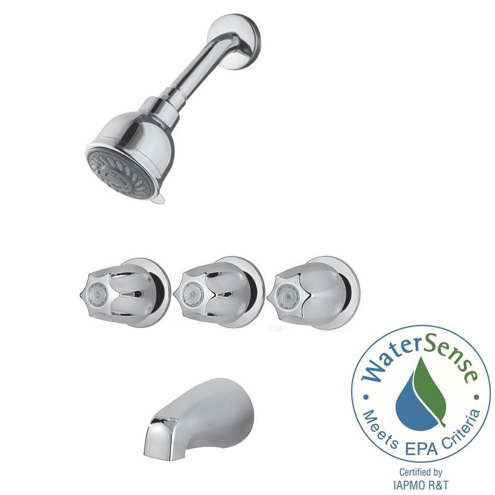 Pfister 3 Handle 3 Spray Tub And Shower Faucet In Polished Chrome
