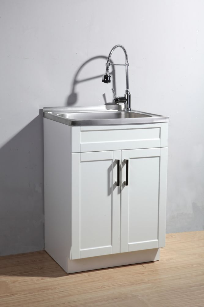 Utility Laundry Sink With Cabinet Avec Images Rangement