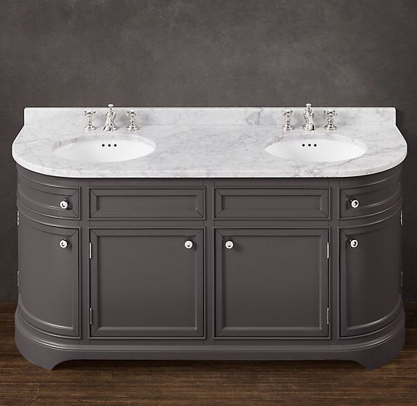 RHu0027s Odéon Double Vanity:With Its Distinctive Curved Front Paneling, Our  Handcrafted Vanity Is A Handsome And Practical Evolution Of The Demi Lune  Shapes ...