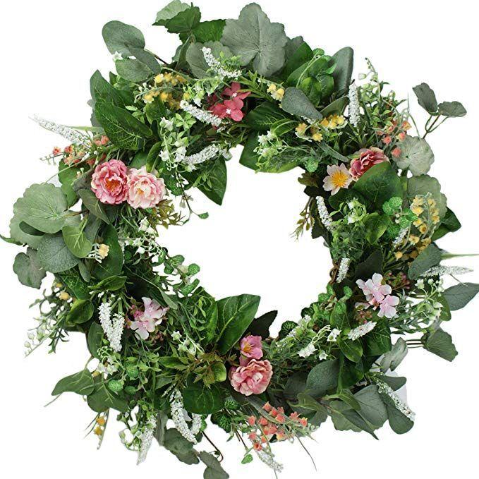 Amazon Com Emlyn 17 18 Inch Clssical Artificial Spring Summer Door Wreath Gateway º Wreath Ideas º Summer Door Wreaths Wreaths Door Wreaths