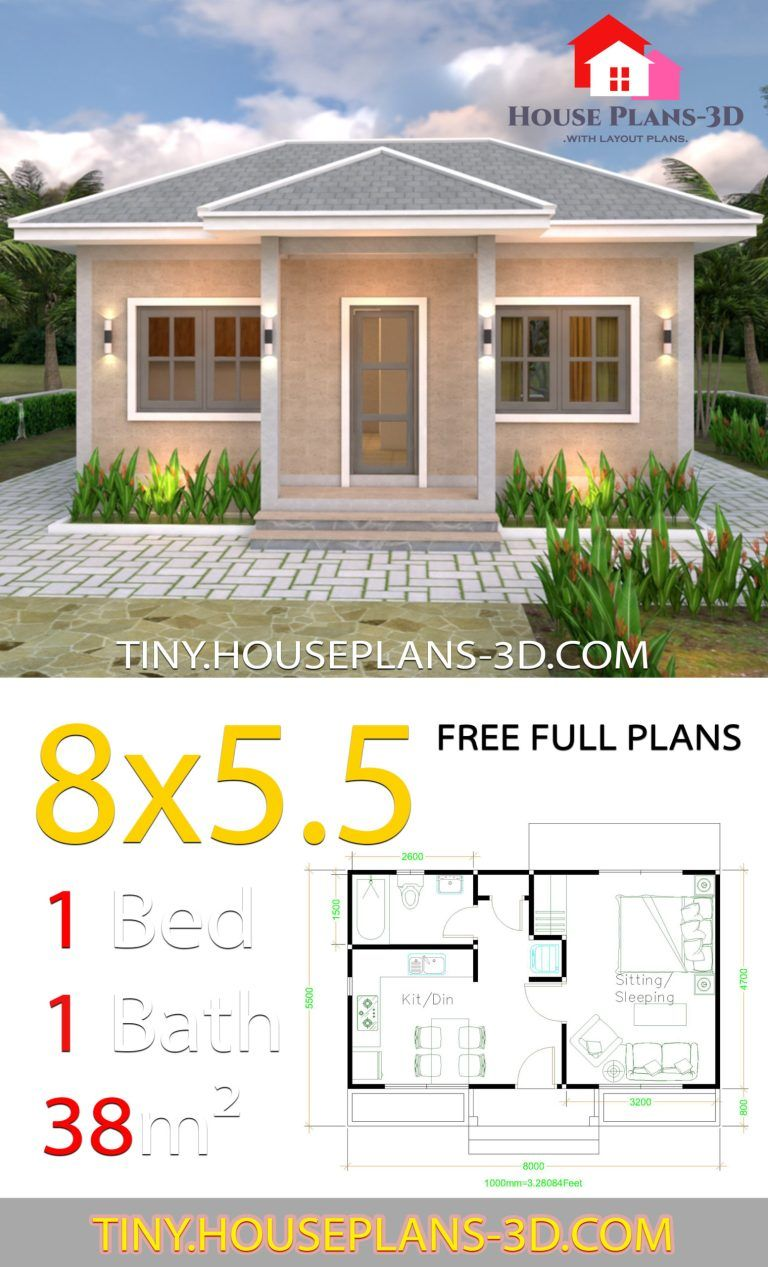 Small House Plans 8x5 5 With One Bedrooms Gross Hipped Roof Tiny House Plans Guest House Plans House Plans Simple House Plans