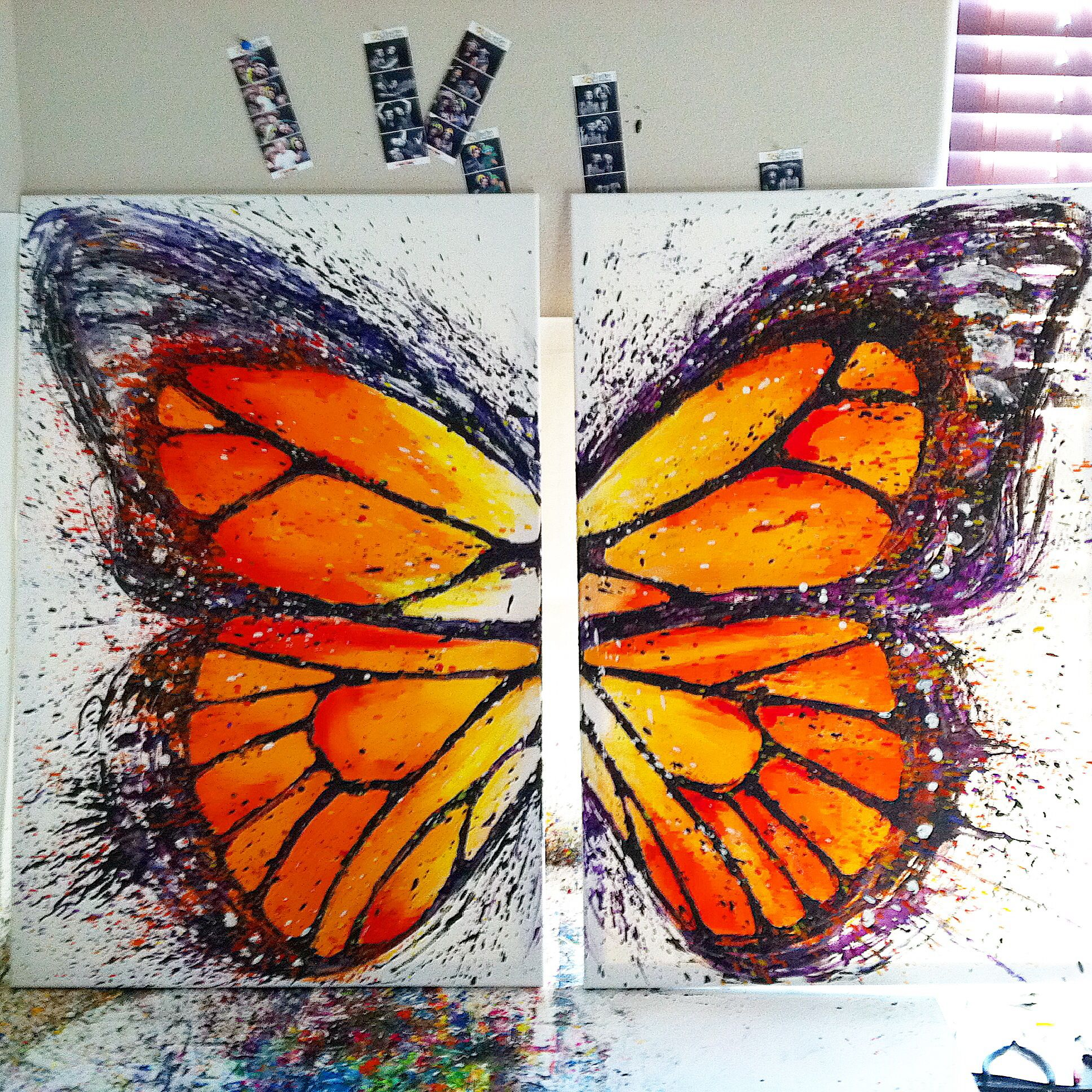100% Melted Crayon Painting Of A Monarch Butterfly Heat Gun