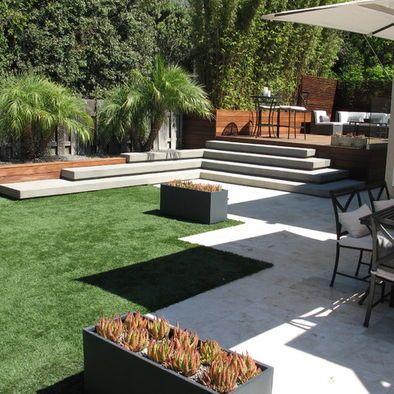 Diseño de jardin con trazados en plano y en cotas combinando