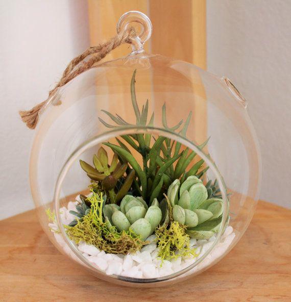 Artificial Succulent Round Vase Terrarium 4 Succulent