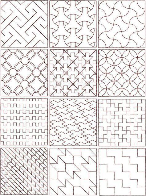 Основы японской вышивки Сашико мы узнали в предыдущей статье, а здесь я выложу наиболее простые и популярные схемы для вышивания...