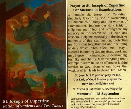 Exams / tests. Prayer to St Joseph of Cupertino.   Devotions ...
